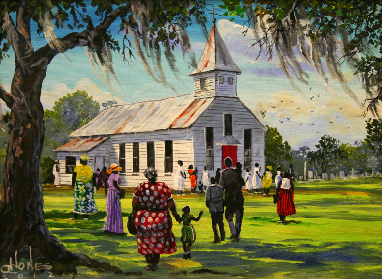 Title Gullah Country Church Artist John W Jones Medium Original Acrylic On Canvas Image Size 16 X 12 695 Framing Ground Shipping Included