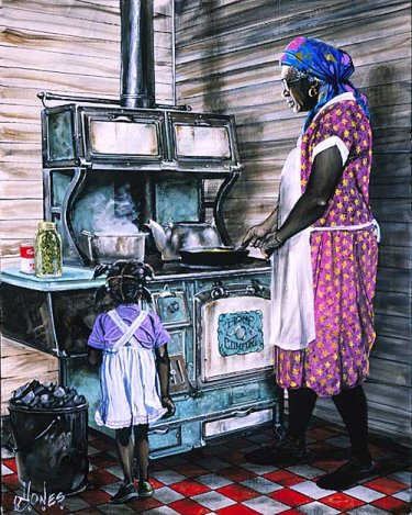 Kitchen on Grandmas Kitchen   Gullah Art  African American Art By John Jones At